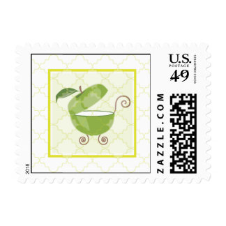 Green Apple Baby Carriage Postage Stamp