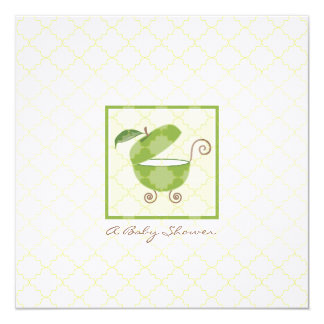 Green Apple Baby Carriage Shower Invitation