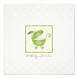 "Green Apple Baby Carriage Shower Invitation 5.25"" Square Invitation Card"