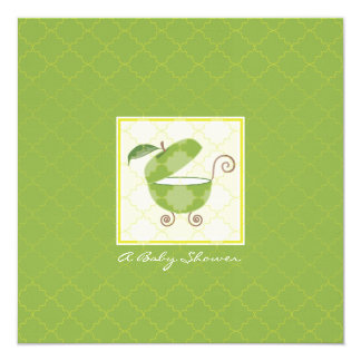 "Green Apple Baby Carriage Shower Invitation 5.25"" Square Invitation Card"