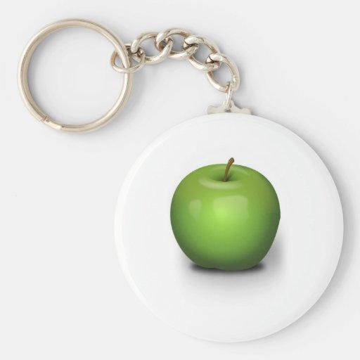 Green Apple Basic Round Button Keychain
