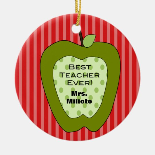 Green Apple Best Teacher Christmas Ornament