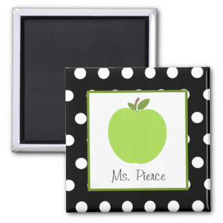 Green Apple / Black With White Polka Dots 2 Inch Square Magnet