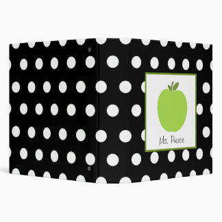 Green Apple / Black with White Polka Dots Binder