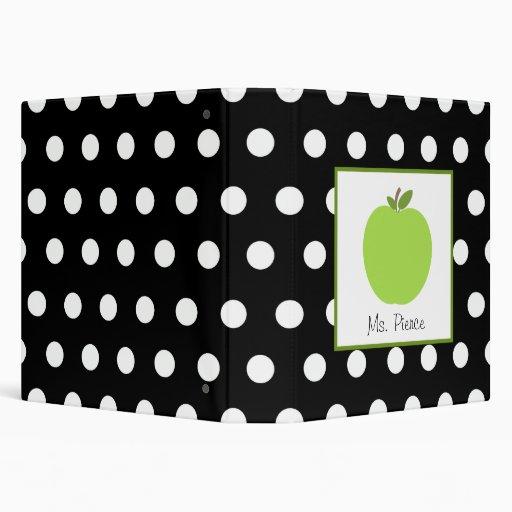 Green Apple / Black with White Polka Dots Binders