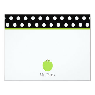 Green Apple / Black With White Polka Dots Card