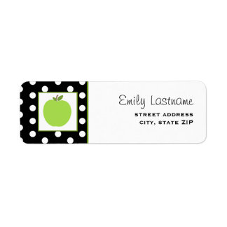 Green Apple / Black With White Polka Dots Label