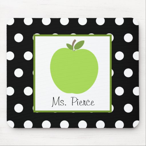 Green Apple / Black With White Polka Dots Mousepads