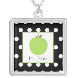 Green Apple / Black With White Polka Dots Custom Necklace