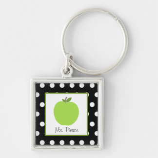 Green Apple / Black With White Polka Dots Silver-Colored Square Keychain