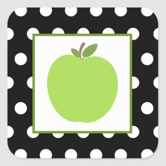 Green Apple / Black With White Polka Dots Square Sticker