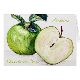 green apple botanical Bachelorete party invitation Cards