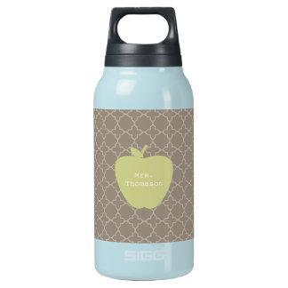 Green Apple Brown Quatrefoil Teacher Insulated Water Bottle