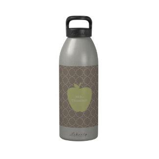 Green Apple Brown Quatrefoil Teacher Drinking Bottle