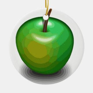 Green apple ceramic ornament