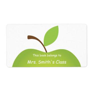 Green Apple Classroom Book Plate Label