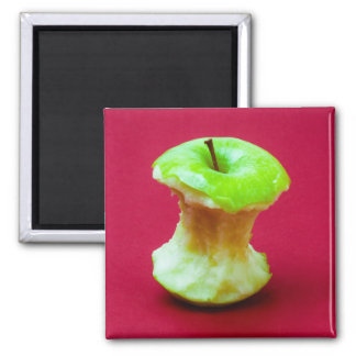 Green apple core 2 inch square magnet