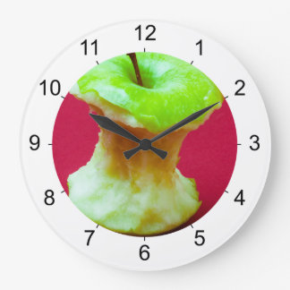 Green apple core large clock