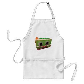 green apple crisp cake face with logo adult apron