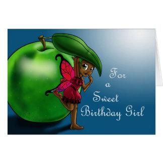 Green Apple Fairy Uzuri Birthday Card