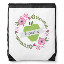 Green Apple Floral Teacher Drawstring Backpack
