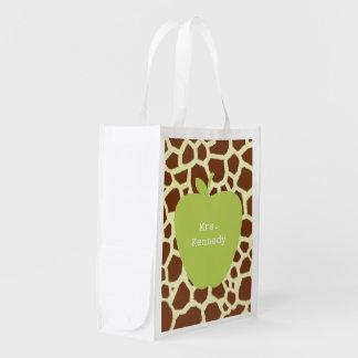 Green Apple Giraffe Teacher Grocery Bags