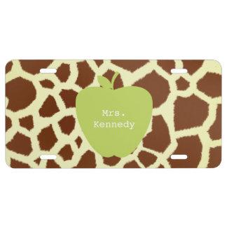 Green Apple Giraffe Teacher License Plate