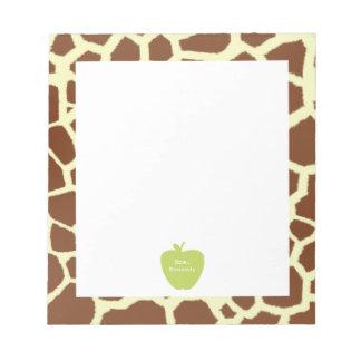Green Apple Giraffe Teacher Memo Notepads