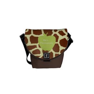 Green Apple Giraffe Teacher Messenger Bag