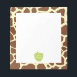 """Green Apple Giraffe Teacher Notepad<br><div class=""""desc"""">A teacher gift featuring an illustration of a green apple over a giraffe print background.  Personalize the name.</div>"""