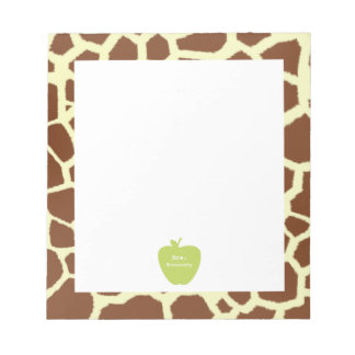 Green Apple Giraffe Teacher Notepad