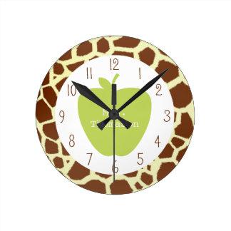 Green Apple Giraffe Teacher Round Clock