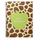 Green Apple Giraffe Teacher Spiral Note Book