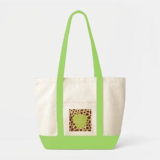 Green Apple Giraffe Teacher Tote Bag