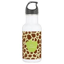Green Apple Giraffe Teacher Water Bottle