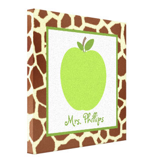 Green Apple Giraffe Wrapped Canvas For Teacher Canvas Print