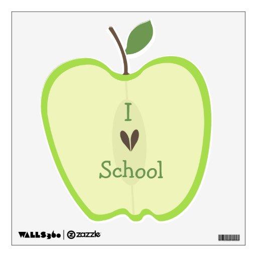 Green Apple Half I Love School Wall Decal