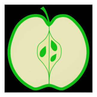 Green Apple Half. Poster