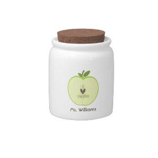 Green Apple Half Teacher Candy Jar