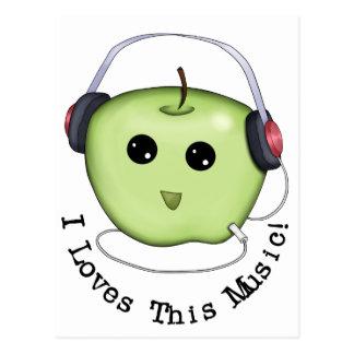 Green Apple Headphones Postcard
