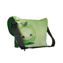 Green apple healthy so cute! messenger bag