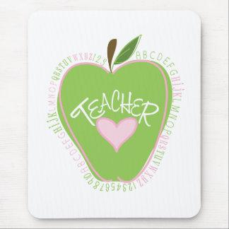 Green Apple & Heart Alphabet Teacher Mousepad