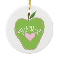 Green Apple & Heart Teacher Ornament