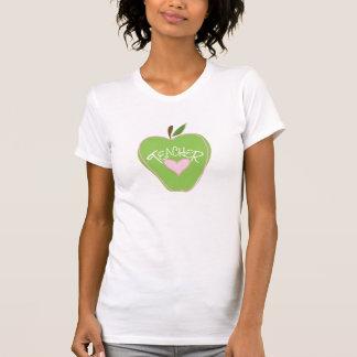 Green Apple & Heart Teacher T Shirt