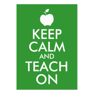 Green Apple Keep Calm and Teach On Large Business Card