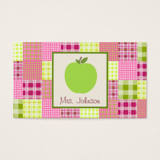 Green Apple & Madras Inspired Plaid Teacher Business Card