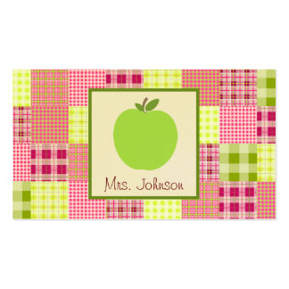 Green Apple Madras Inspired Plaid Teacher Business Cards