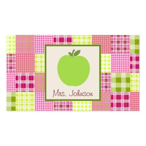 Green Apple & Madras Inspired Plaid Teacher Business Cards