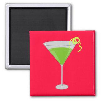 Green Apple Martini 2 Inch Square Magnet