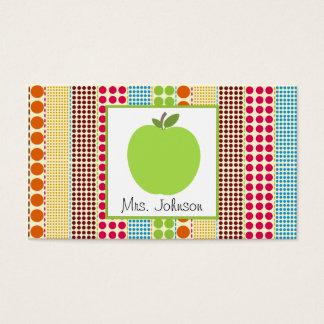 Green Apple Multicolor Polka Dots Teacher Business Card
